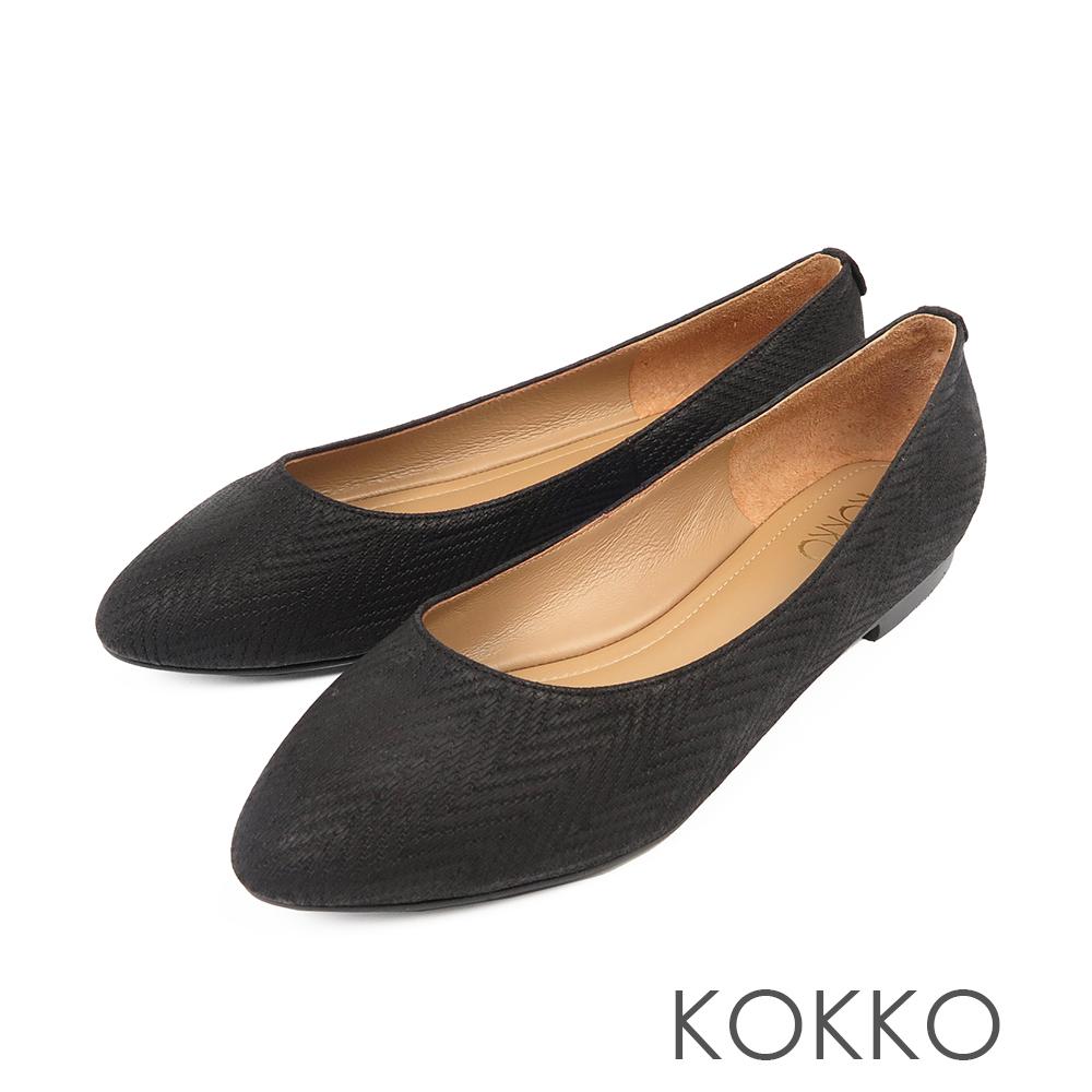 KOKKO -經典彎折柔軟羊皮素面平底鞋-質感黑