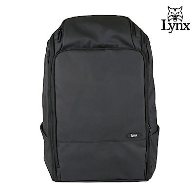 【LYNX】美國山貓商務休閒多隔層機能防水後背包-黑色