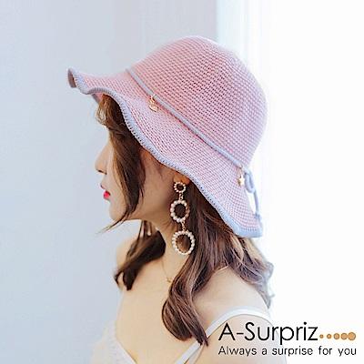 A-Surpriz 滾邊蝶結小吊墬軟鋼絲漁夫帽(粉)
