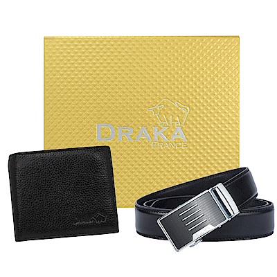 團購-DRAKA達卡-黃金禮盒真皮皮夾+自動皮帶(5入組)