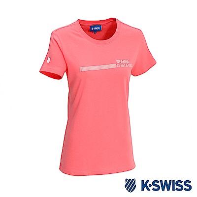 K-SWISS Wearing W/5 Stripe Tee印花短袖T恤-女-蜜桃橘