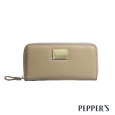 PEPPER`S Doris 牛皮拉鍊長夾 - 古銅金