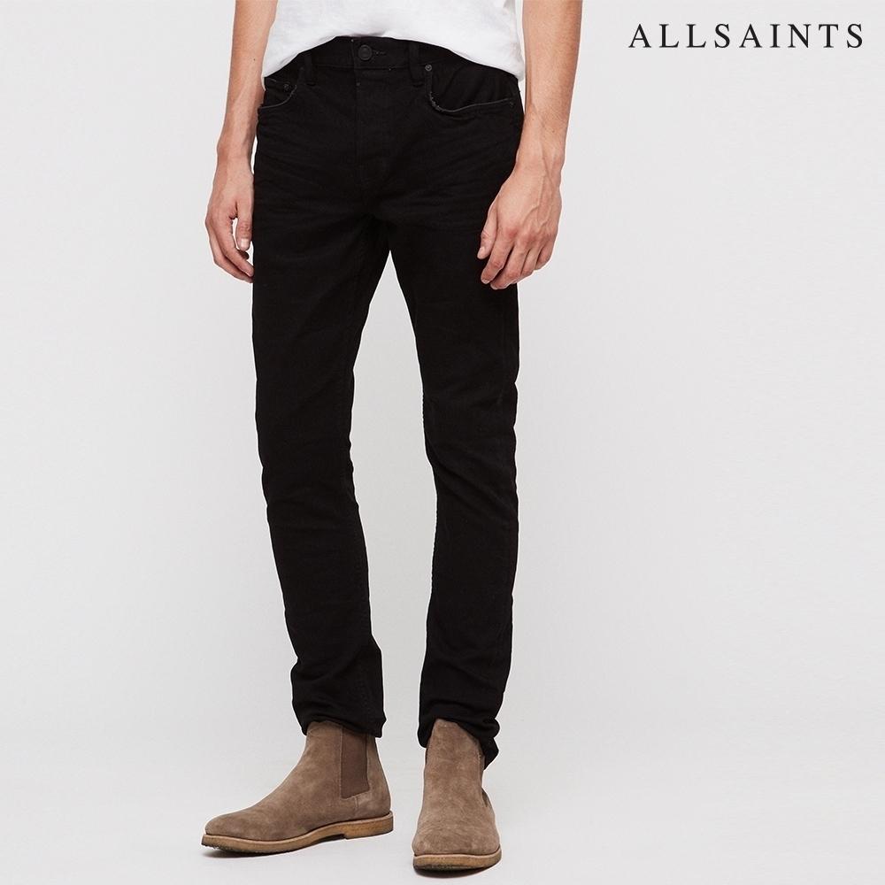 ALLSAINTS CIGARETTE 現代風剪裁素面棉質緊身牛仔褲-烏黑