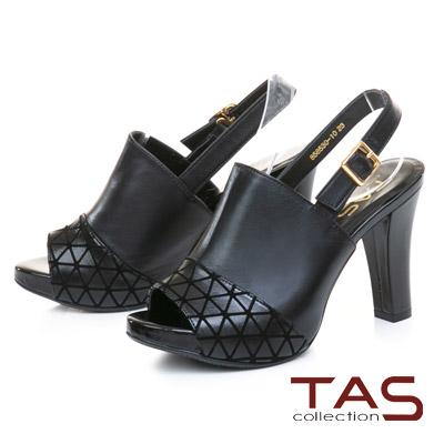TAS幾何壓紋拼接羊皮魚口高跟涼鞋–時髦黑