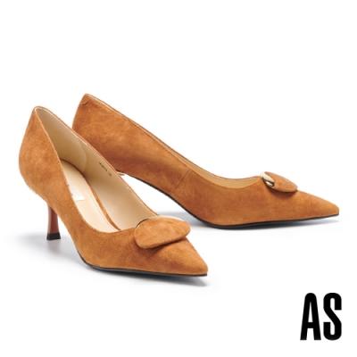 高跟鞋 AS 都會典雅金屬圓釦全羊皮尖頭高跟鞋-駝
