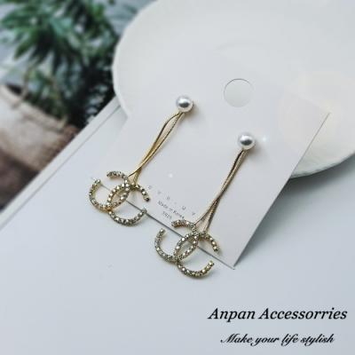 【ANPAN愛扮】韓東大門前後扣兩戴珍珠經典小香雙C925銀針耳釘式耳環