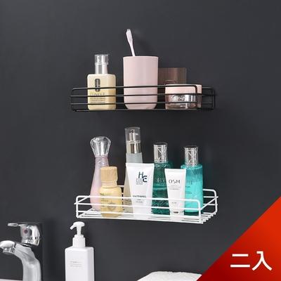 荷生活 免打孔長方形鏤空收納鐵架 浴室廚房無痕壁掛置物架-二入