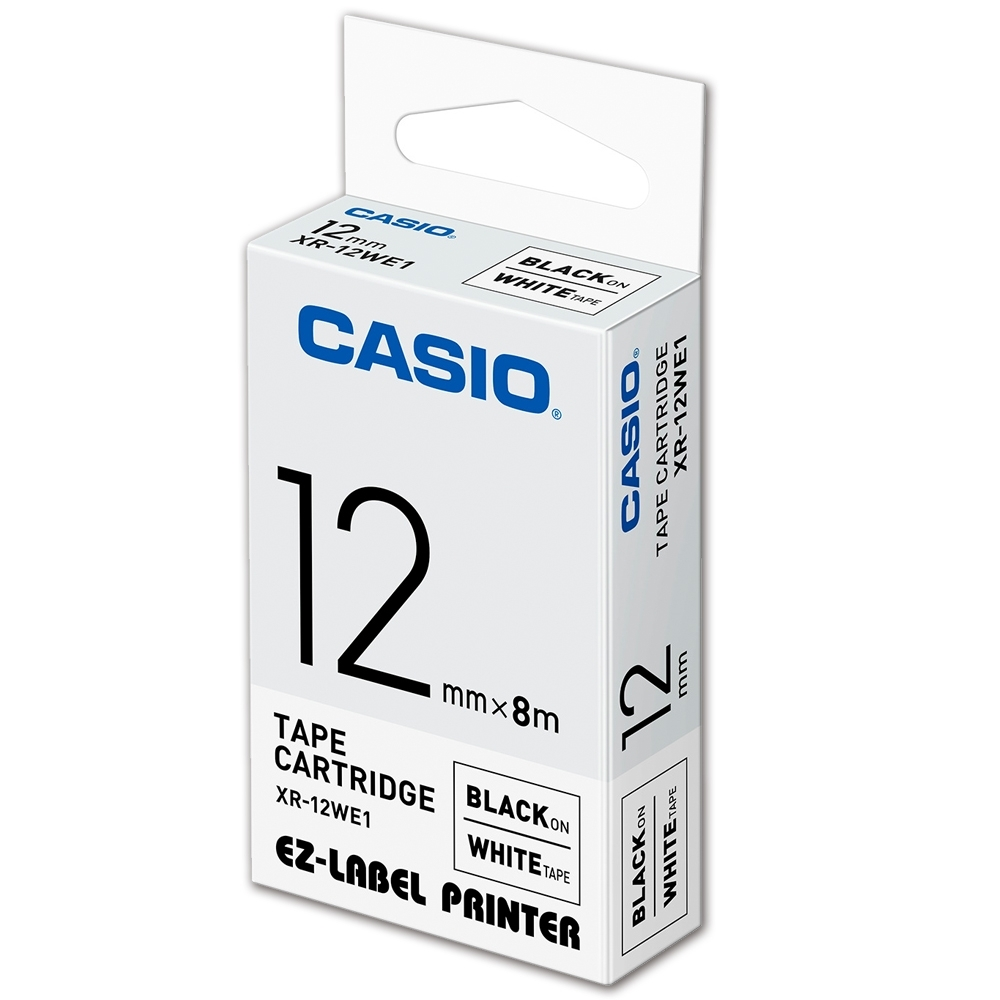 CASIO 標籤機專用色帶-12mm【共有9色】白底黑字-XR-12WE1