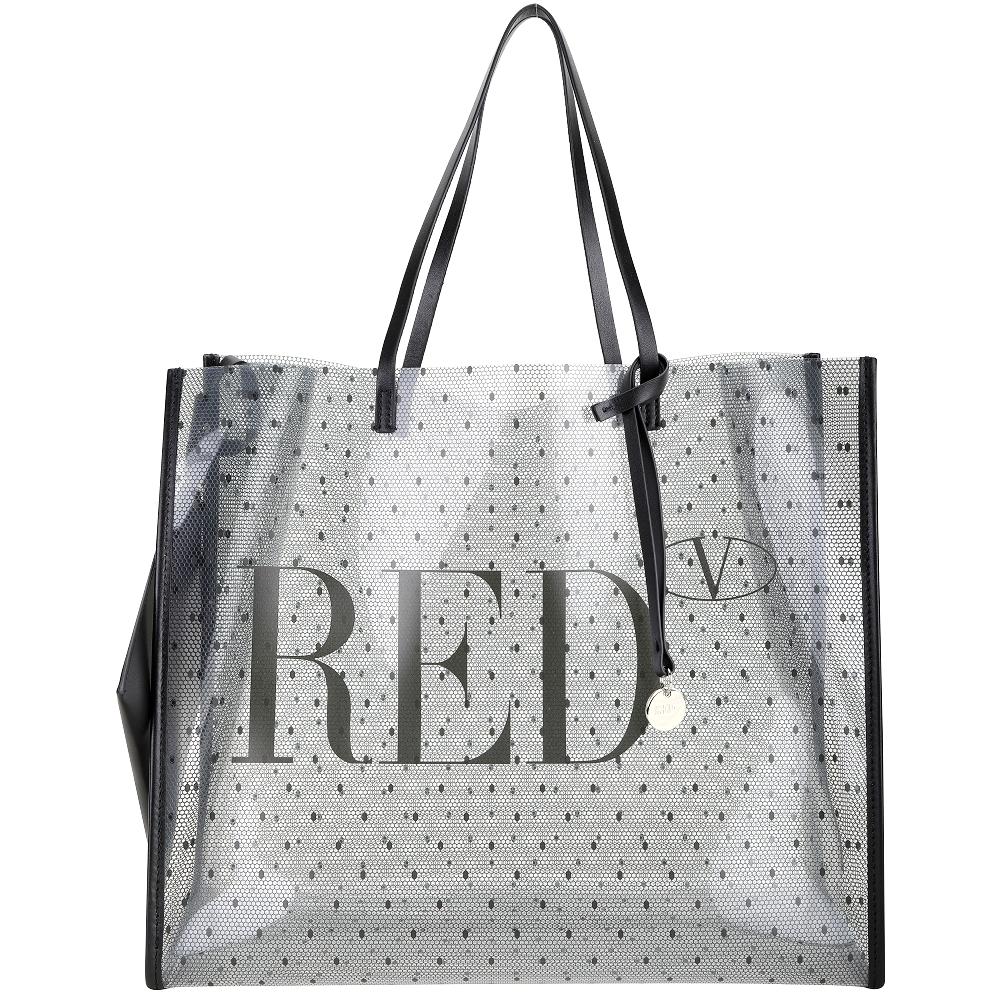 RED VALENTINO REDNAT PVC 蕾絲感印花肩背托特包(黑色/附皮革萬用包)