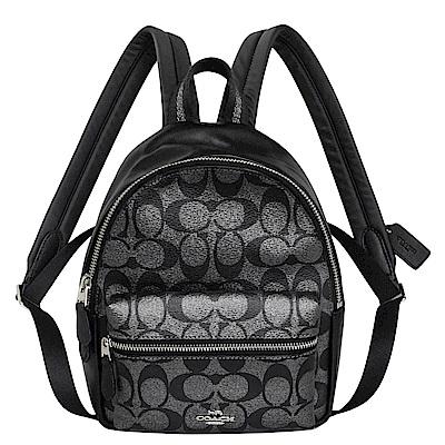COACH銀黑C Logo拼接真皮小款後背包