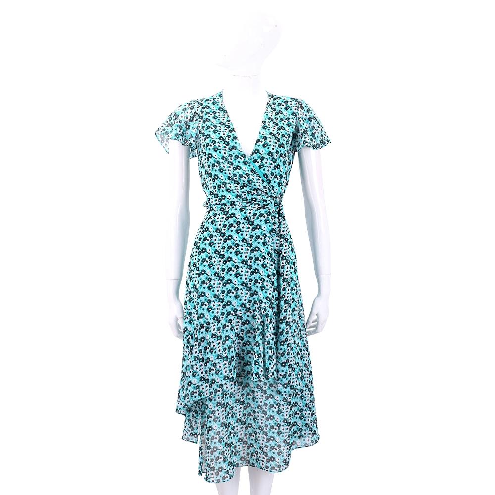 Michael Kors 不對稱裙襬藍綠色印花深V領洋裝