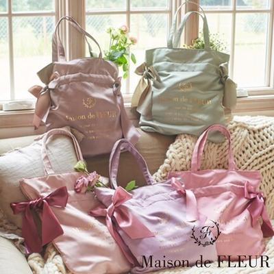 Maison de FLEUR 經典光澤感蝴蝶結緞帶手提袋