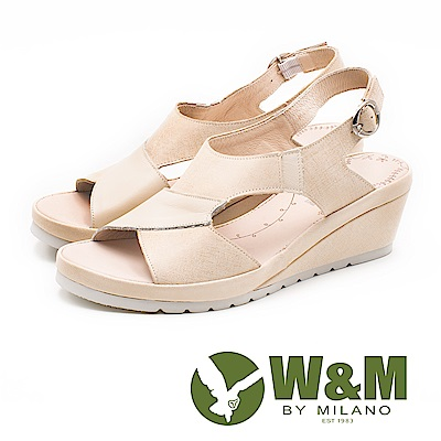 W&M 輕量魚口鬆緊套腳楔型涼鞋 女鞋 - 米(另有裸粉色)