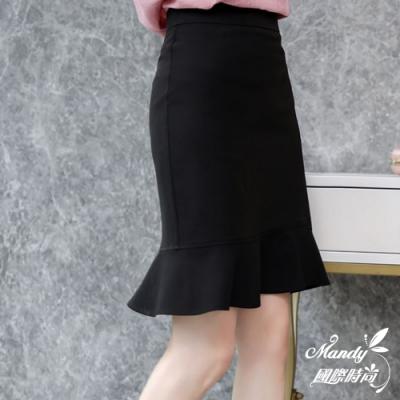 Mandy國際時尚 短裙 氣質高腰不規則荷葉邊魚尾半身裙 (3色)【韓國服飾】