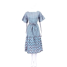 Max Mara-WEEKEND 藍綠色幾何圖騰荷葉寬袖綁腰連身裙