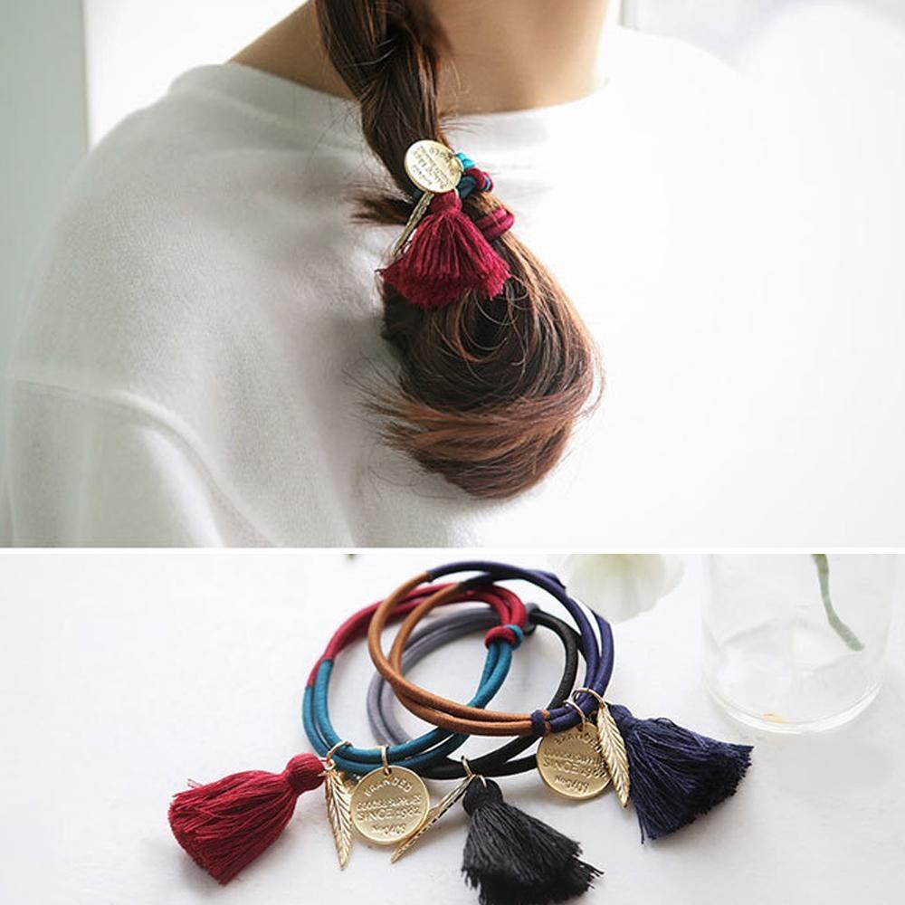Hera赫拉-金屬樹葉綴飾打結流蘇髮圈/手圈-3色