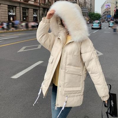 韓版蓬蓬毛領羽絨棉中長版保暖外套M-2XL(共五色)-WHATDAY