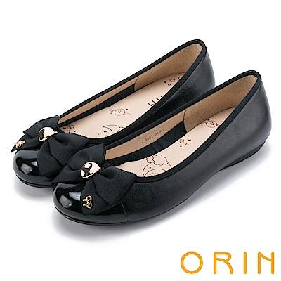 ORIN 輕柔甜美 真皮雙層織帶蝴蝶結娃娃鞋-黑色