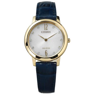 CITIZEN 星辰表 光動能施華洛世奇水晶真皮手錶-銀灰x藍/29mm