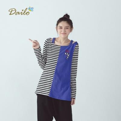 【Dailo】紳士貓條紋拼接休閒-上衣(二色)