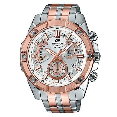 EDIFICE粗曠質感搶眼大錶面不鏽鋼腕錶(EFR-559SG-7)玫瑰金IP/49.5m