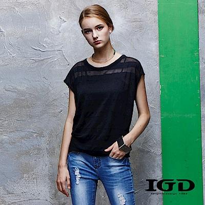 IGD英格麗 直條紋透膚短袖上衣