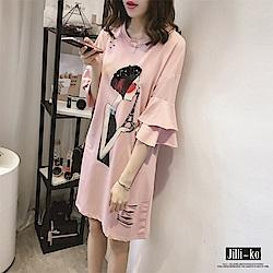 Jilli-ko 中長款寬版印花連身裙- 淺藍/粉紅