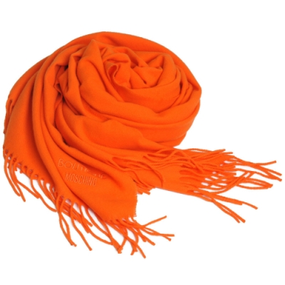MOSCHINO BOUTIQUE 義大利製字母LOGO刺繡圖騰美麗諾羊毛披肩/圍巾(橘)