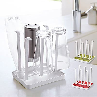 日本YAMAZAKI-AQUA瀝水杯架-白/綠/紅★杯架/奶瓶架/保溫杯架/瀝水