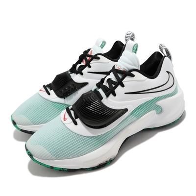 Nike 籃球鞋 Zoom Freak 3 EP 運動 男鞋 希臘怪物 字母哥 避震 包覆 XDR外底 白 綠 DA0695-101