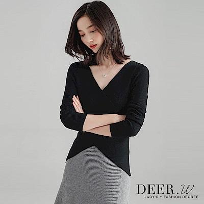 DEER-W-交叉V領坑條混織上衣-黑