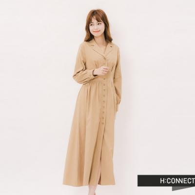 H:CONNECT 韓國品牌 女裝 - 氣質小翻領排釦洋裝 -卡其