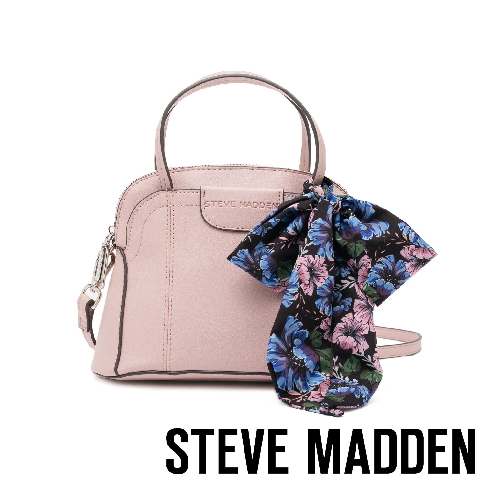 STEVE MADDEN-BCOSTA 清新花絲巾綁飾手提斜背包-粉紅色
