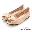 【CUMAR】優雅復古珍珠飾釦魚口內增高平底鞋-杏