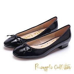 Pineapple Outfitter 典雅女伶 鏡面芭蕾尖頭低跟鞋-鏡黑