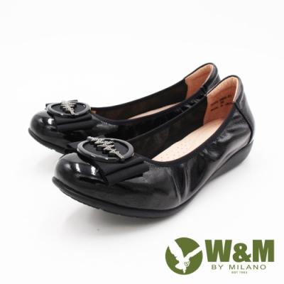 W&M (女)亮鑽牛皮圓頭造型娃娃鞋 女鞋-黑(另有紅)