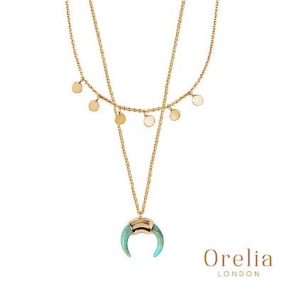 Orelia 英國倫敦 MINI COIN & HORN 綠松石牛角鍍金層次項鍊