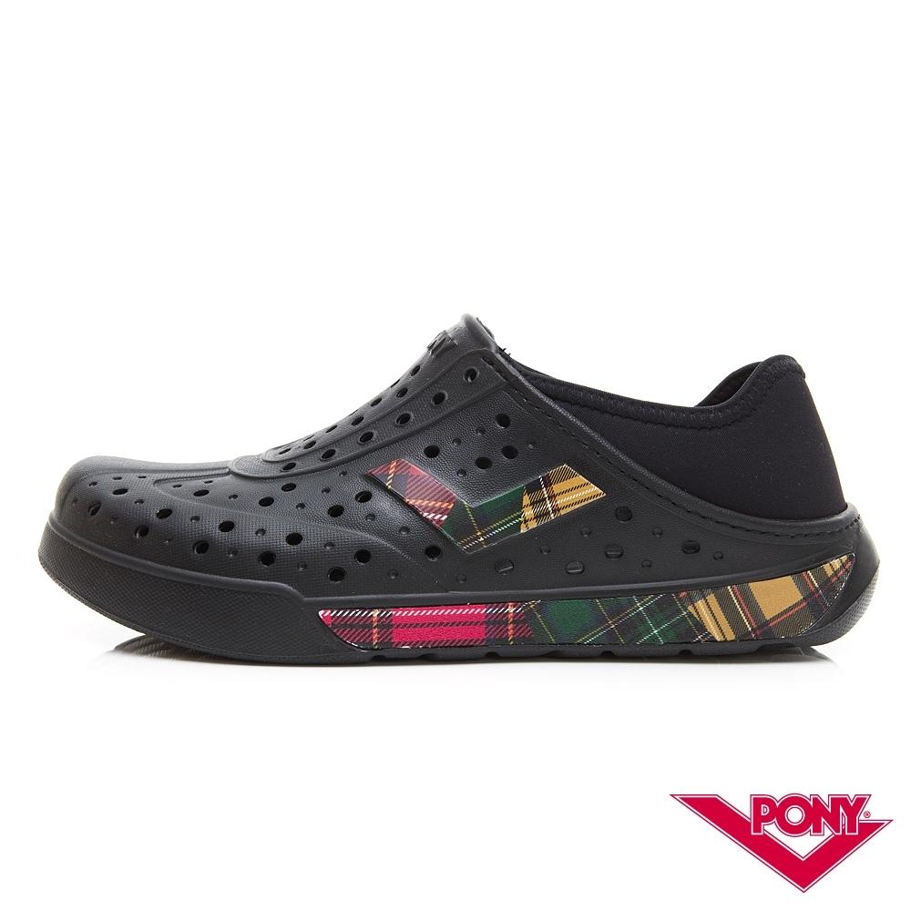 【PONY】ENJOY懶人後跟輕量透氣兩用洞洞鞋 拖鞋 雨鞋 男女 格紋拼接黑