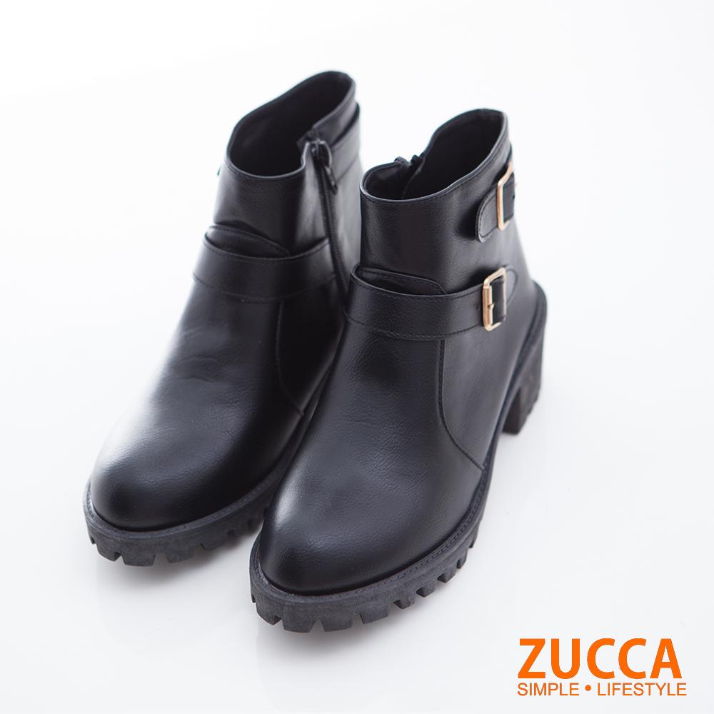 ZUCCA-雙排扣環低跟短筒靴-黑-z6720bk