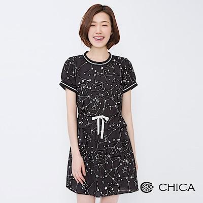 CHICA 盛夏星空手繪感抽繩設計洋裝(2色)