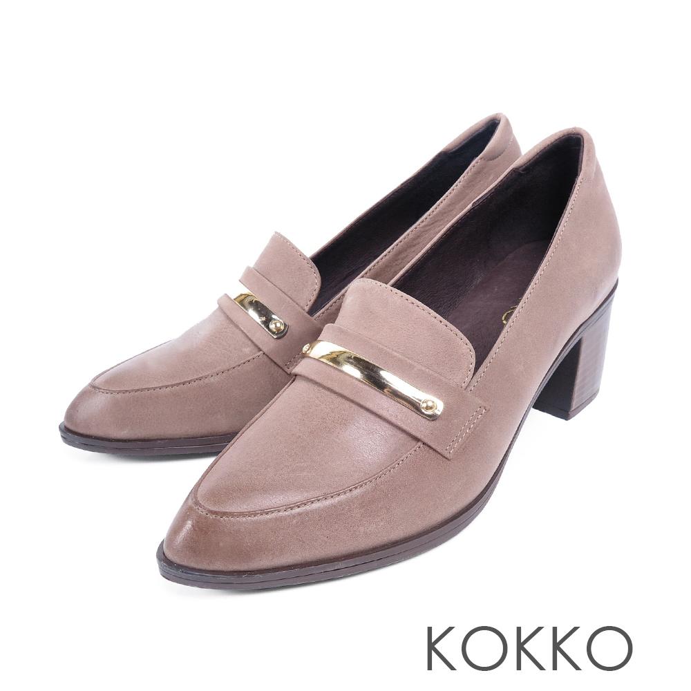 KOKKO  - 落葉情話牛皮樂福粗跟鞋-紳士灰
