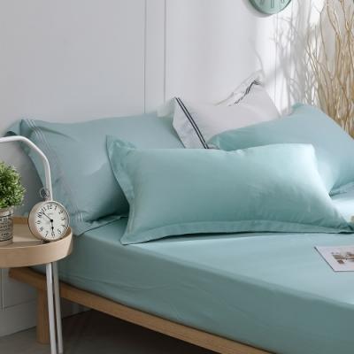 OLIVIA Solid color 綠 標準單人床包歐式枕套兩件組 300織天絲TM萊賽爾 台灣製