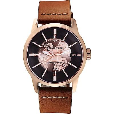 RELAX TIME RT62S 系列 人動電能地球手錶-玫塊框x咖啡色帶/45mm