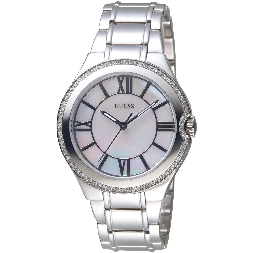 GUESS 珍珠貝錶盤晶鑽手錶-銀白-GWW12117L1-39mm