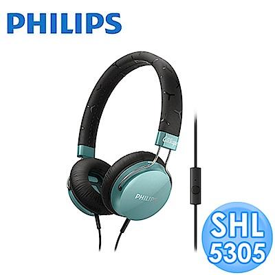 【福利品】PHILIPS 頭戴式耳機麥克風 SHL5305 (藍綠色)