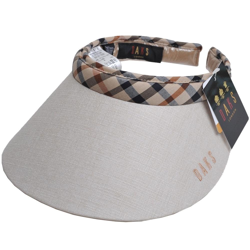 DAKS 經點字母刺繡LOGO格紋頭圍滾邊造型遮陽帽(淺卡其色)