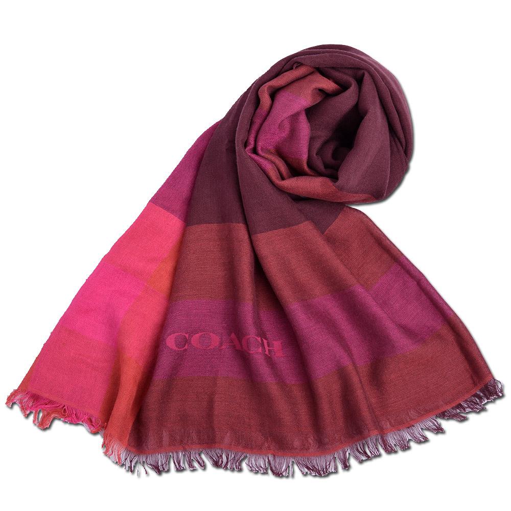 COACH 格紋拼接色寬版莫代爾披肩式圍巾-紫紅拼接COACH