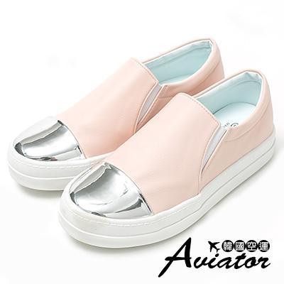 Aviator*韓國空運-正韓粉嫩皮革金屬頭拼接厚底懶人鞋-粉