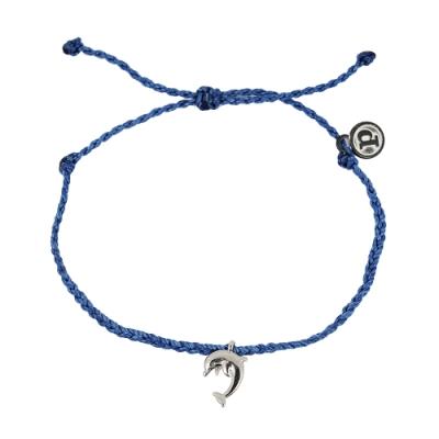 Pura Vida 美國手工 銀色海豚 靛藍蠟線可調式手鍊衝浪海灘防水手繩