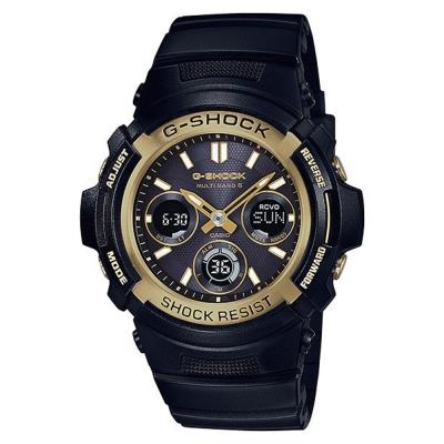 G-SHOCK黑色主調風格絕對強悍太陽能電波錶AWG-M100SBG-1金框46.4mm